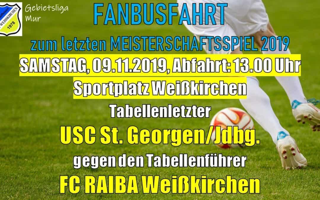 Fanbusfahrt zum letzten Meisterschaftsspiel des FC Weißkirchen am 9.11.2019