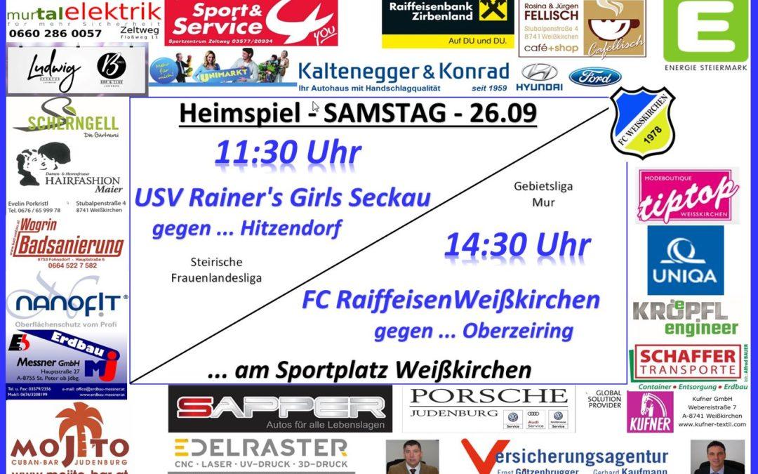 Heimspiel des FC Weißkirchen am Sa. 26.09.2020 um 14:30 gegen Oberzeiring