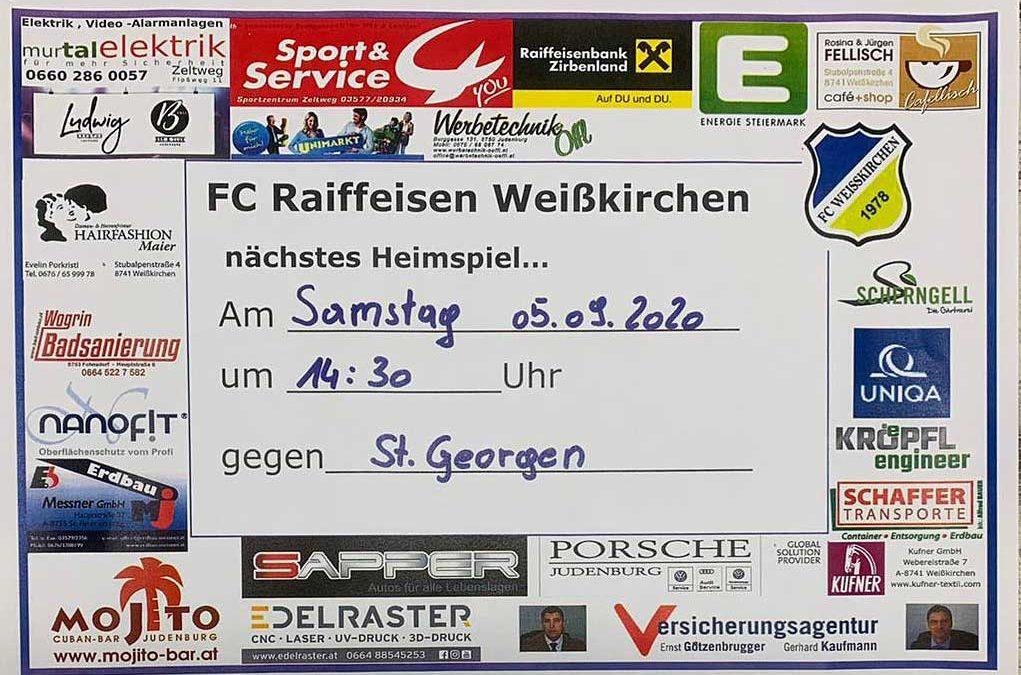 Heimspiel des FC Weißkirchen am Sa. 05.09.2020 um 14:30 gegen St. Georgen