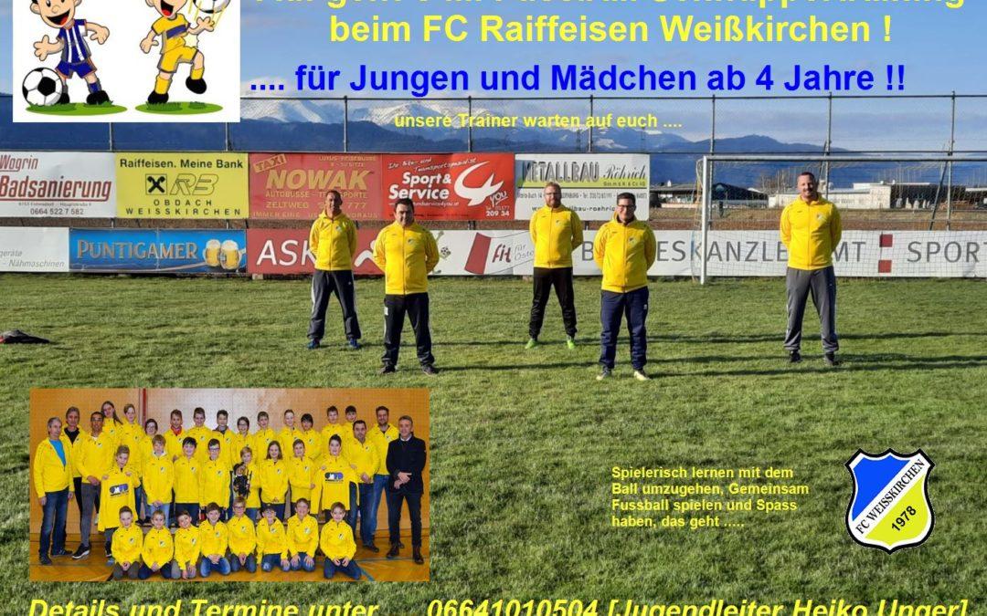 Auf geht`s …. Fussball Schnuppertraining beim FC Raiffeisen Weißkirchen !