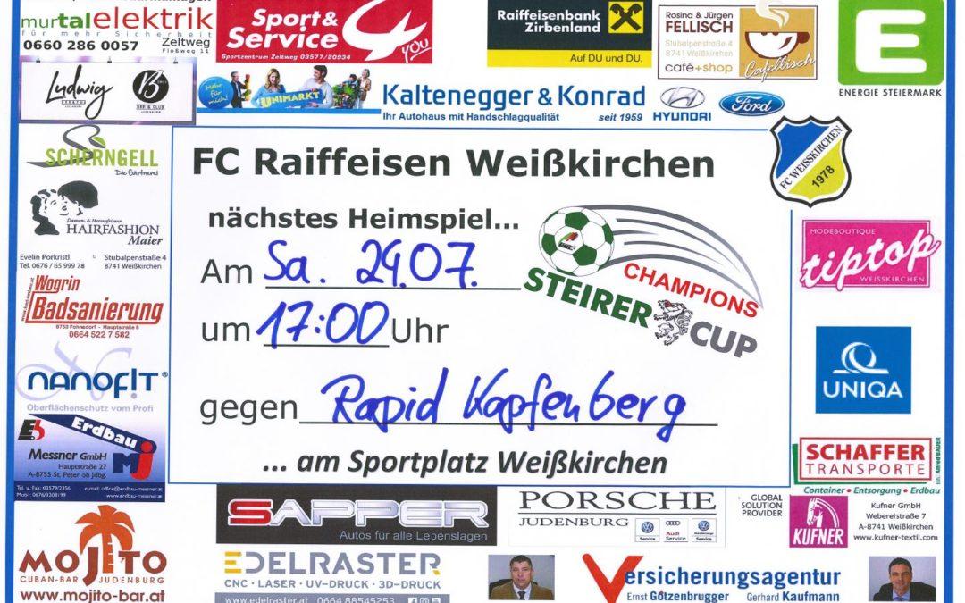 Sa., 24.07.21 – 17:00 FC Raiffeisen Weißkirchen vs. Rapid Kapfenberg (Champions Steirer Cup)