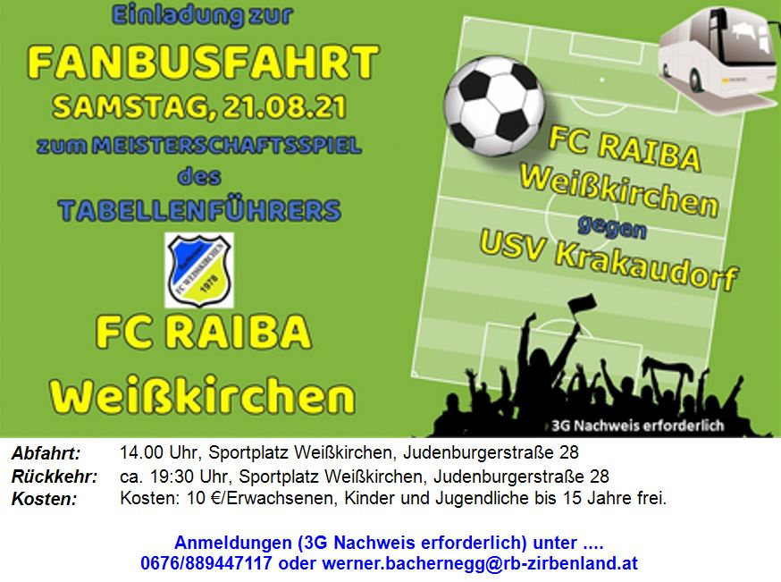 FANBUSFAHRT  USV Krakaudorf – FC Raiffeisen Weißkirchen