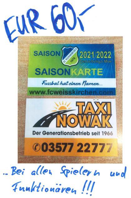 Saisonkarte 2021/2022 … Erhältlich !!!!