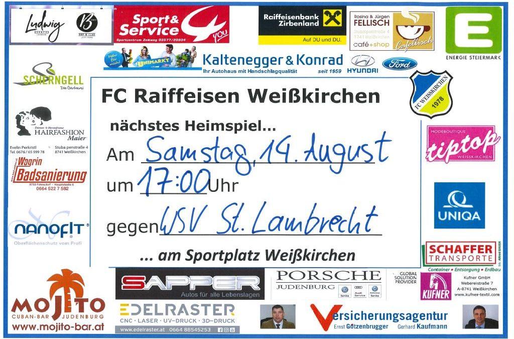 Heimspiel … 14.08.21 vs. WSV St.Lambrecht !